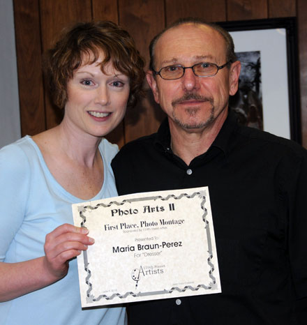 Maria Braun-Perez (left) and juror/published photographer Gary Cialdella (Photo provided courtesy of 119th Street Artists).