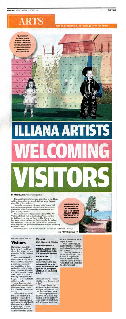"NWI Times Article ""Illiana Artists Welcome Visitors"" published August 15, 2010."