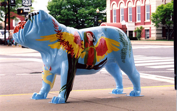 """Paradise Pup"" one of many Bulldogs on the Square exhibit displays in Crown Point, Indiana."